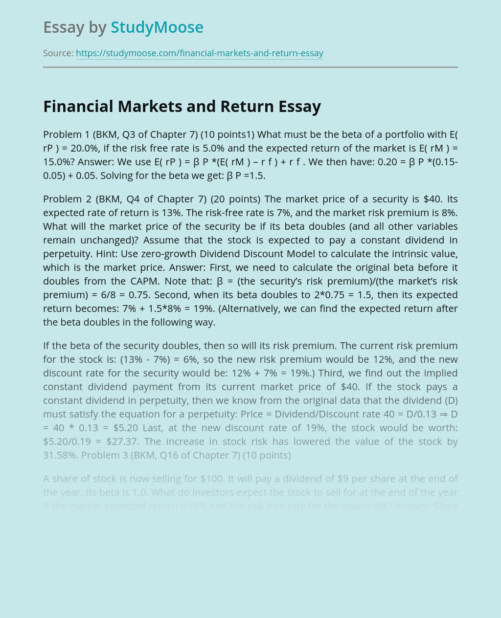 Financial Markets and Return