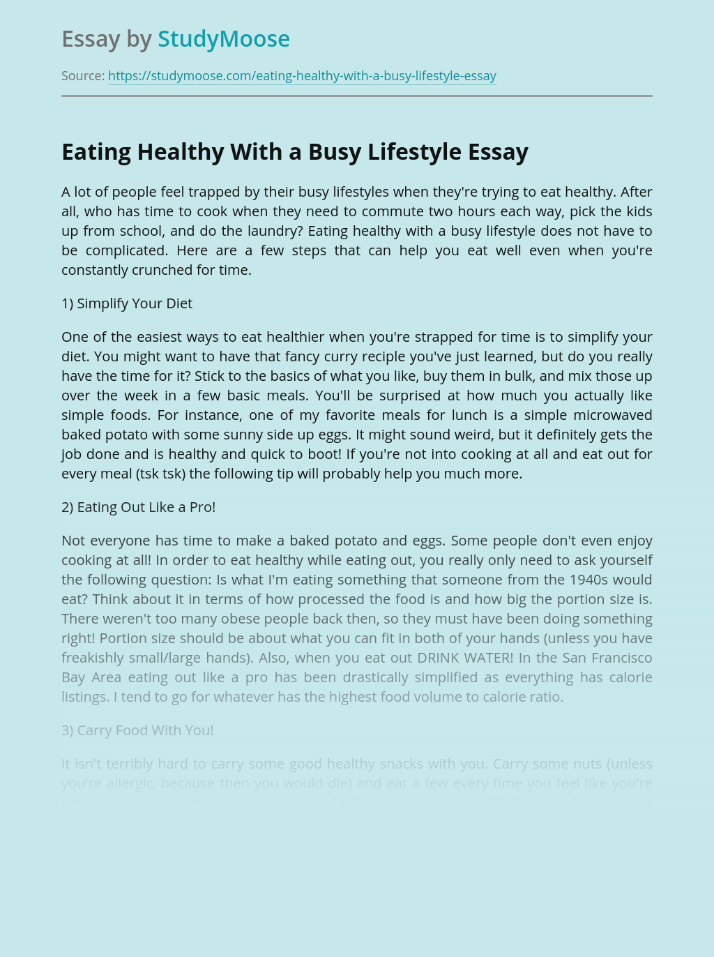 Eating Healthy With a Busy Lifestyle