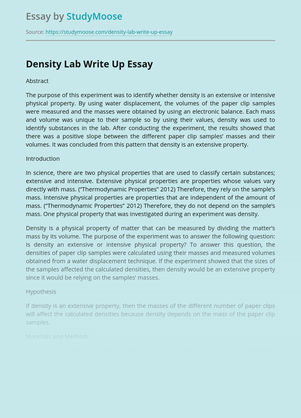 Density Lab Write Up