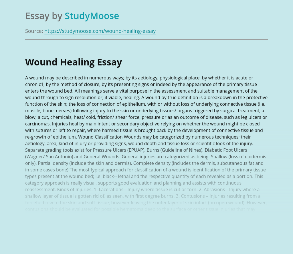 Wound Healing in Medical Science
