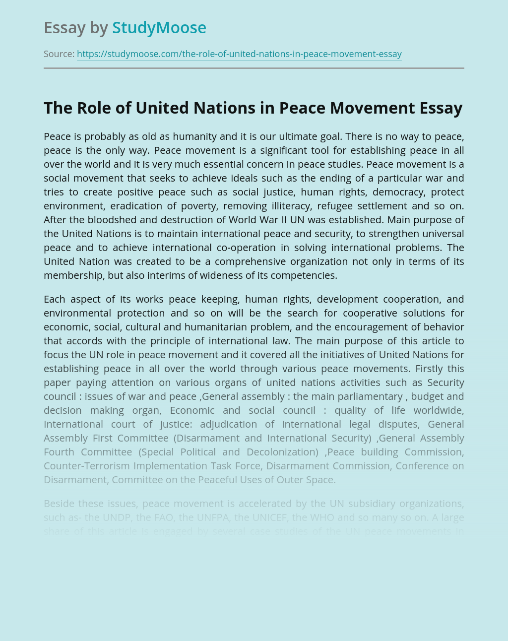 The Role of United Nations in Peace Movement