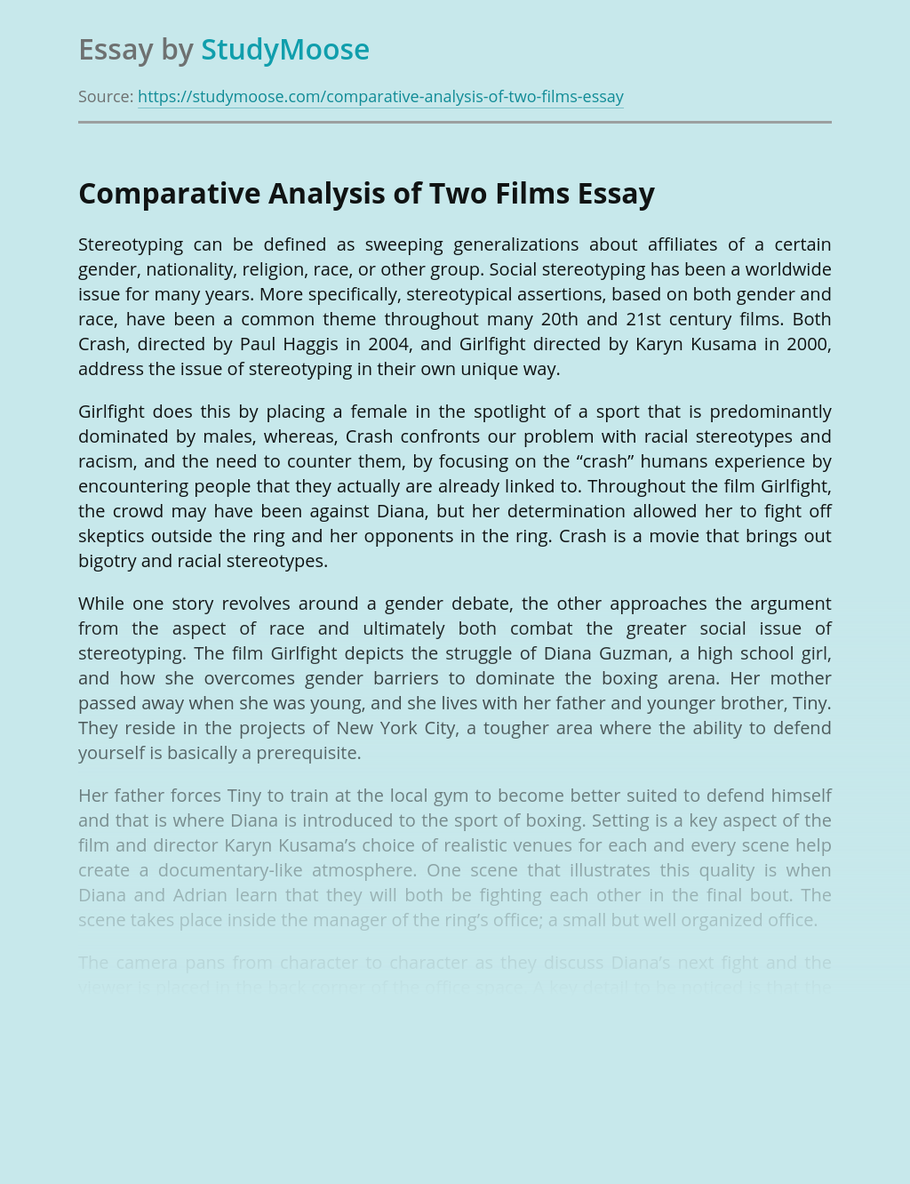 Comparative Analysis of Two Films