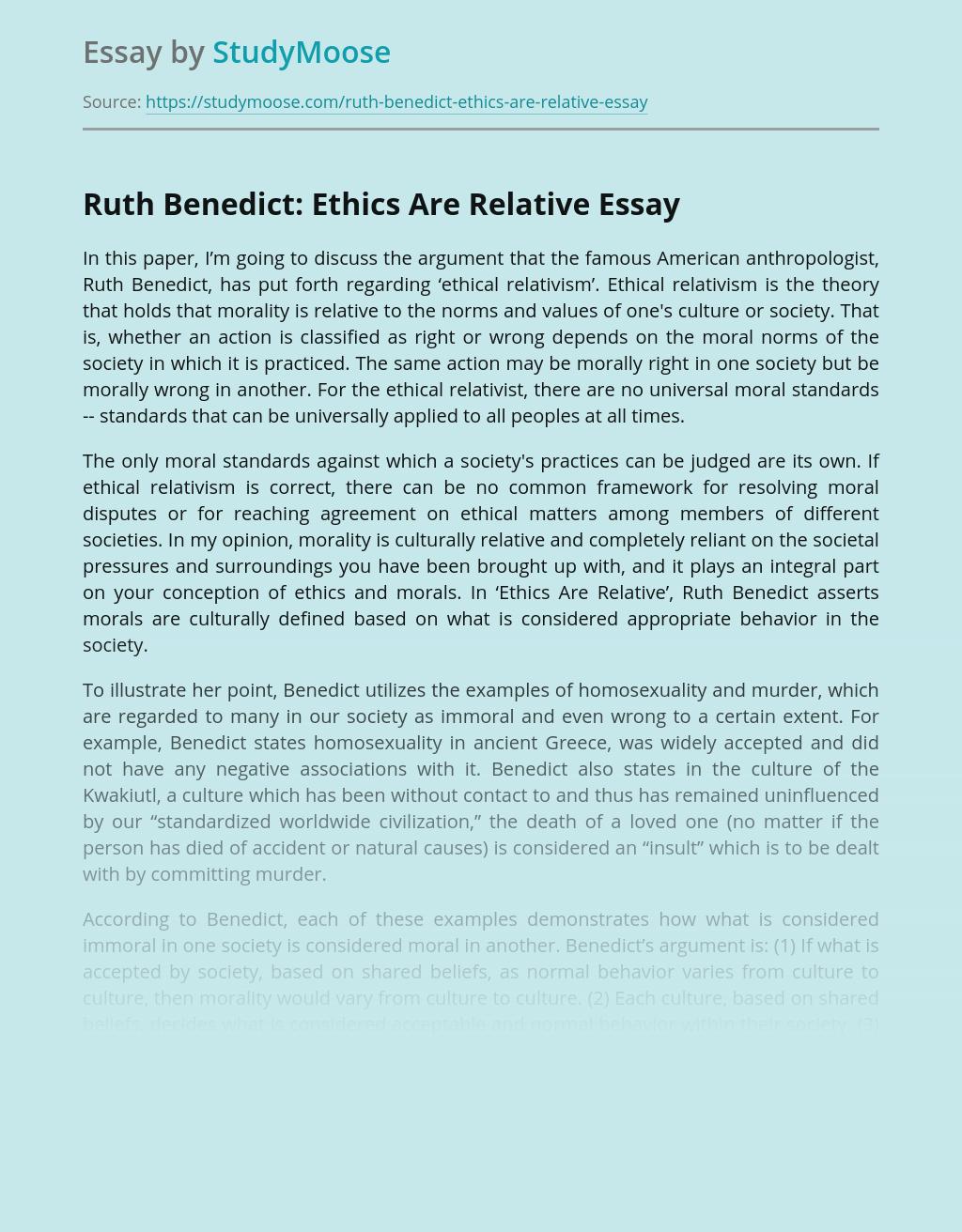 Ruth Benedict: Ethics Are Relative