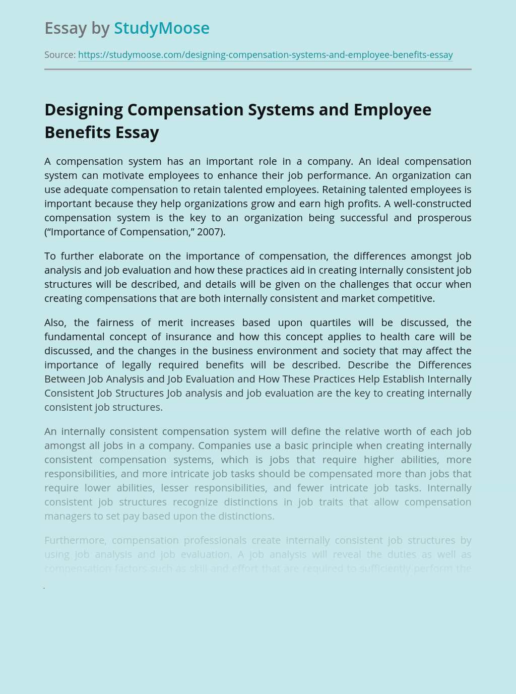 Designing Compensation Systems and Employee Benefits
