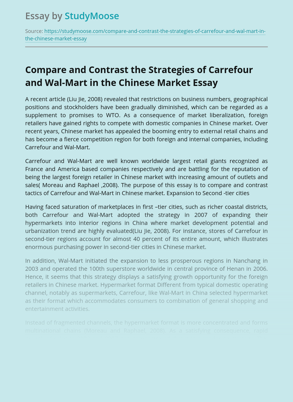 Compare and Contrast the Strategies of Carrefour and Wal-Mart in the Chinese Market
