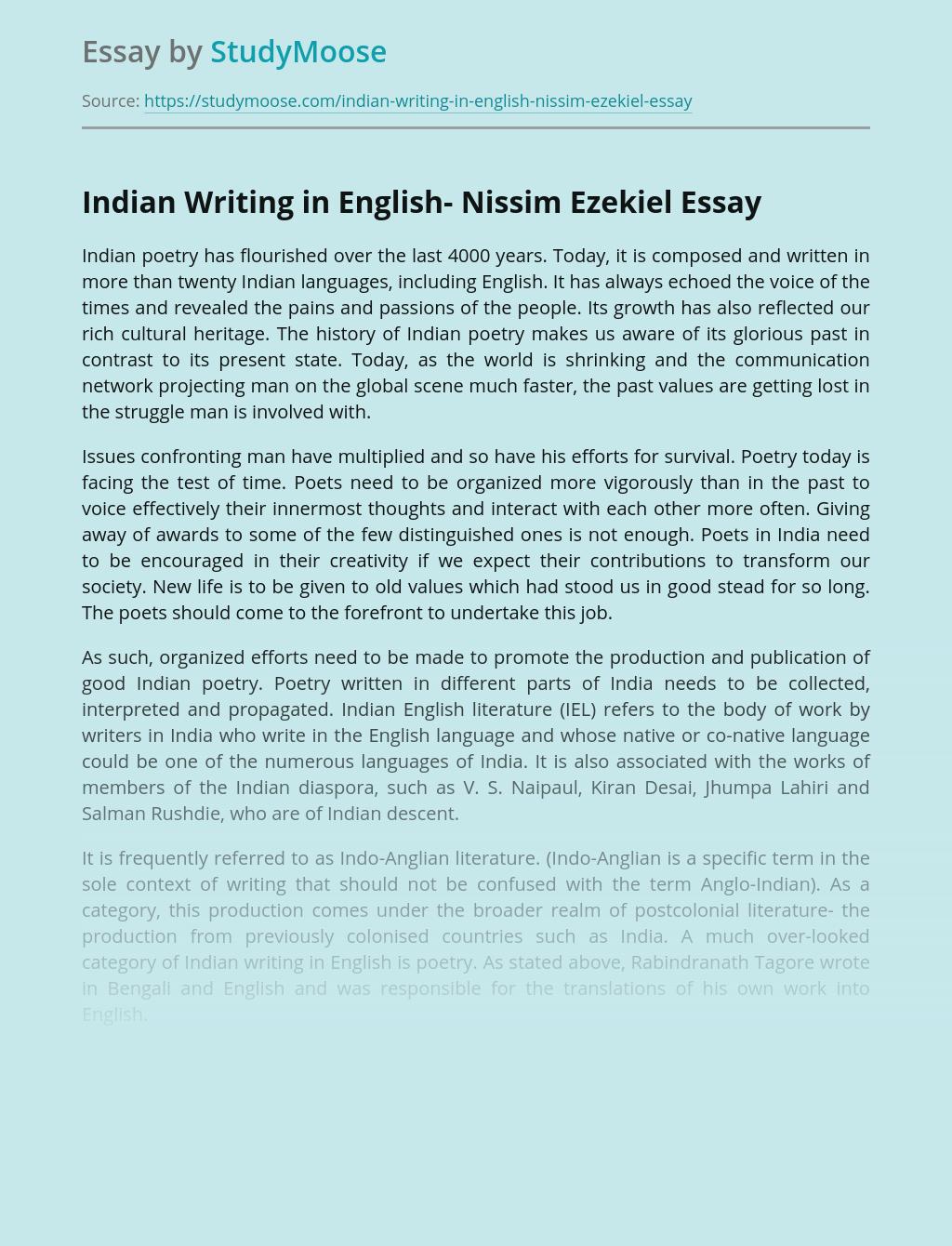 Indian Writing in English- Nissim Ezekiel