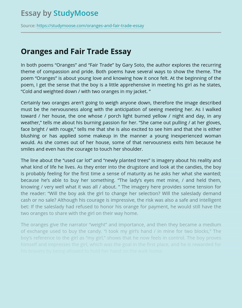 Orange And Fair Trade Free Essay Example Imagery In By Gary Soto