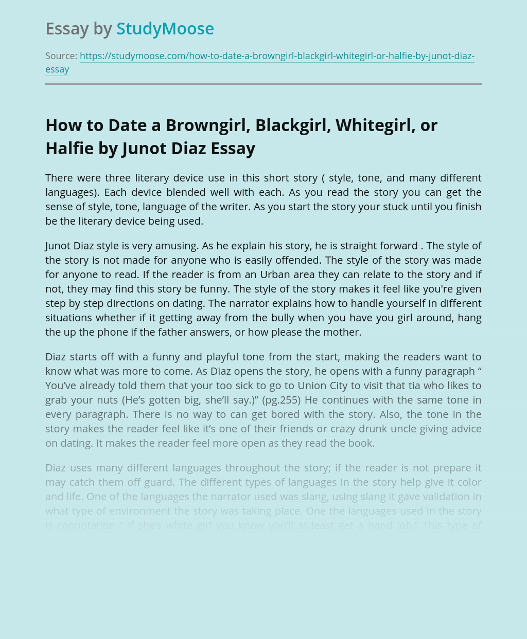 Review of Short Story by Junot Diaz