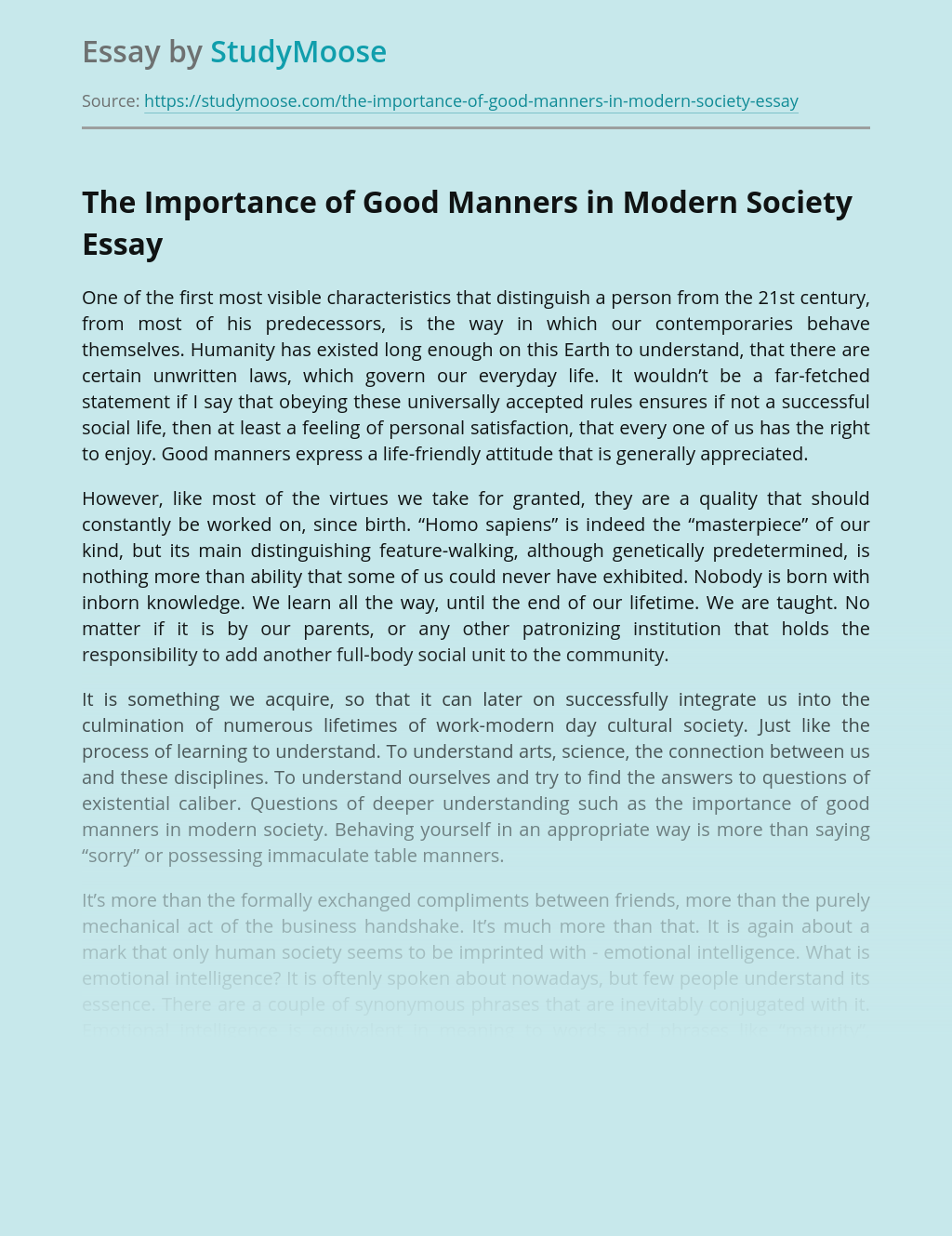 The Importance of Good Manners in Modern Society