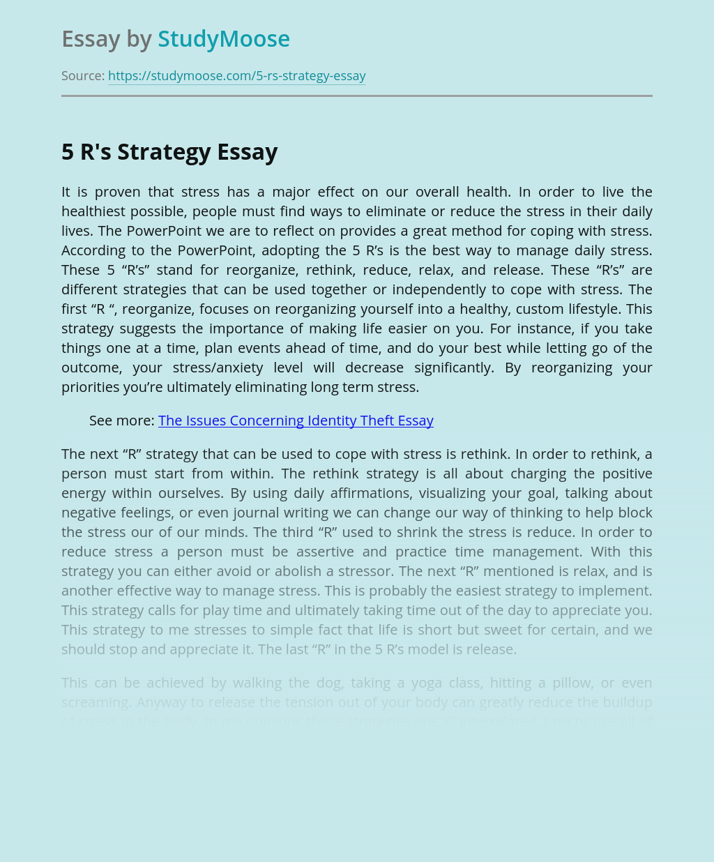 Avoiding Daily Stress With 5 R's Strategy