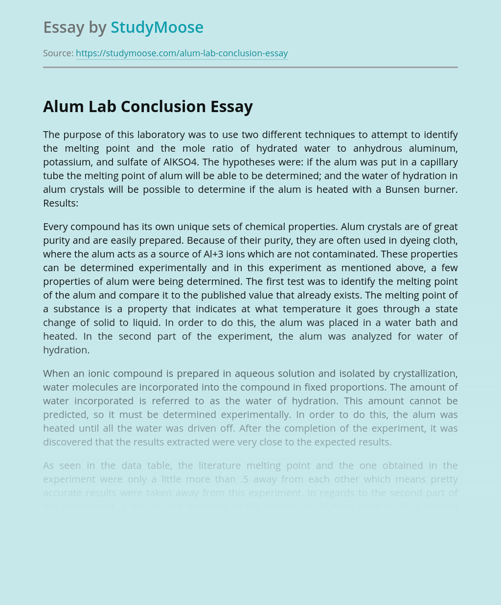Alum Lab Conclusion for Science Class