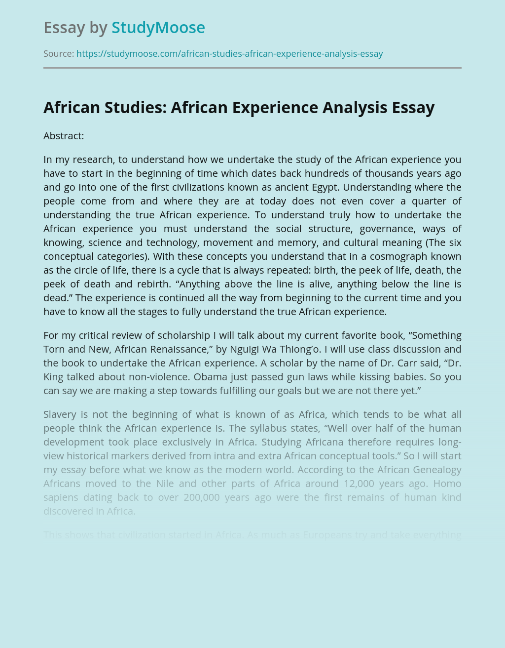 African Studies: African Experience Analysis