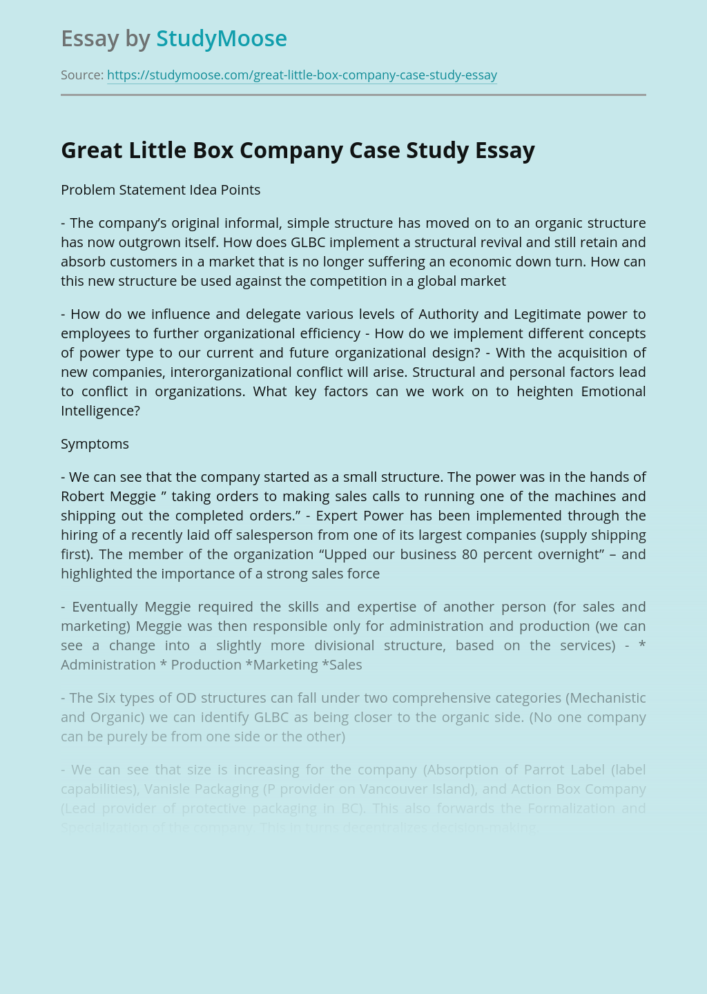 Great Little Box Company Case Study