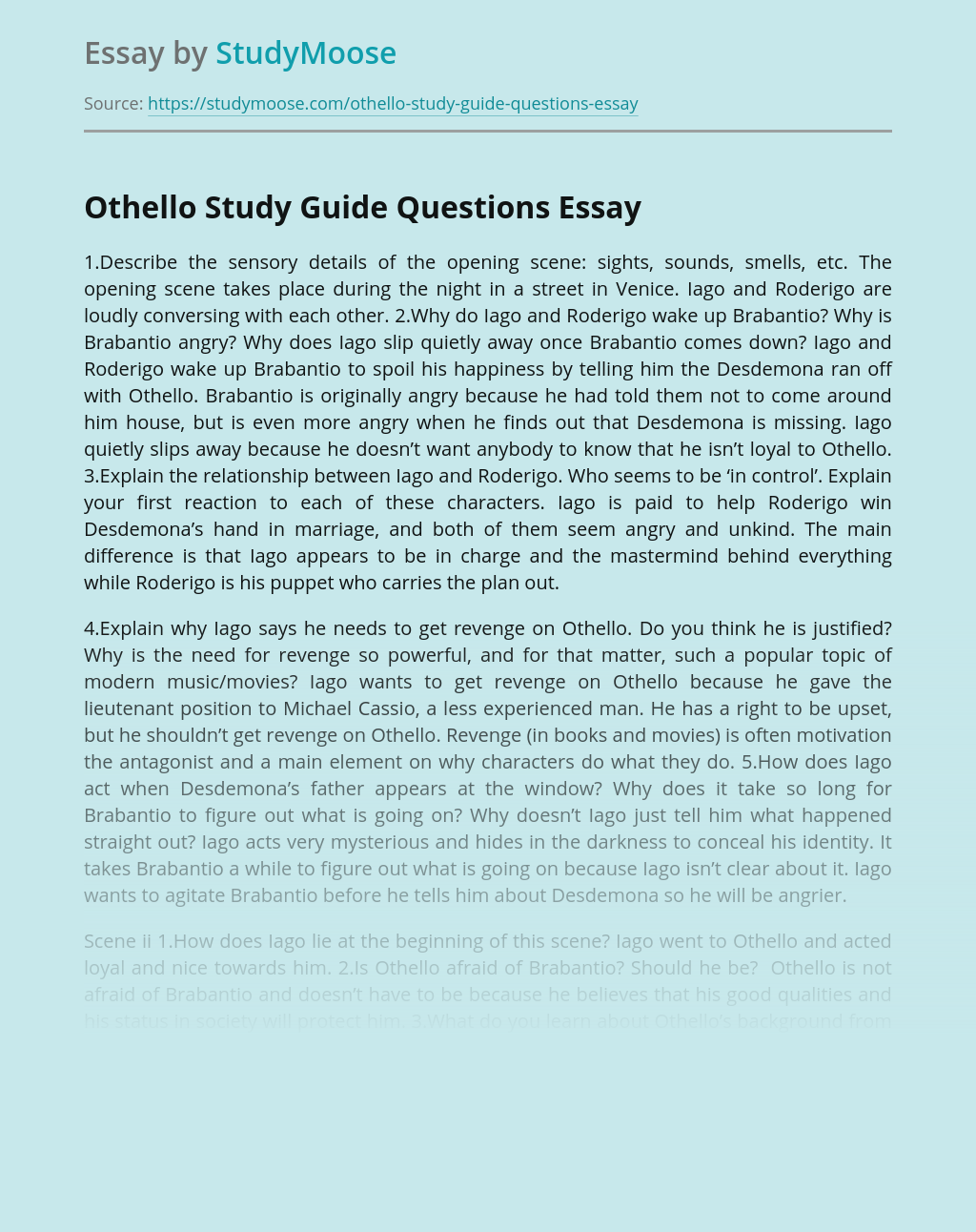 Othello Study Guide Questions