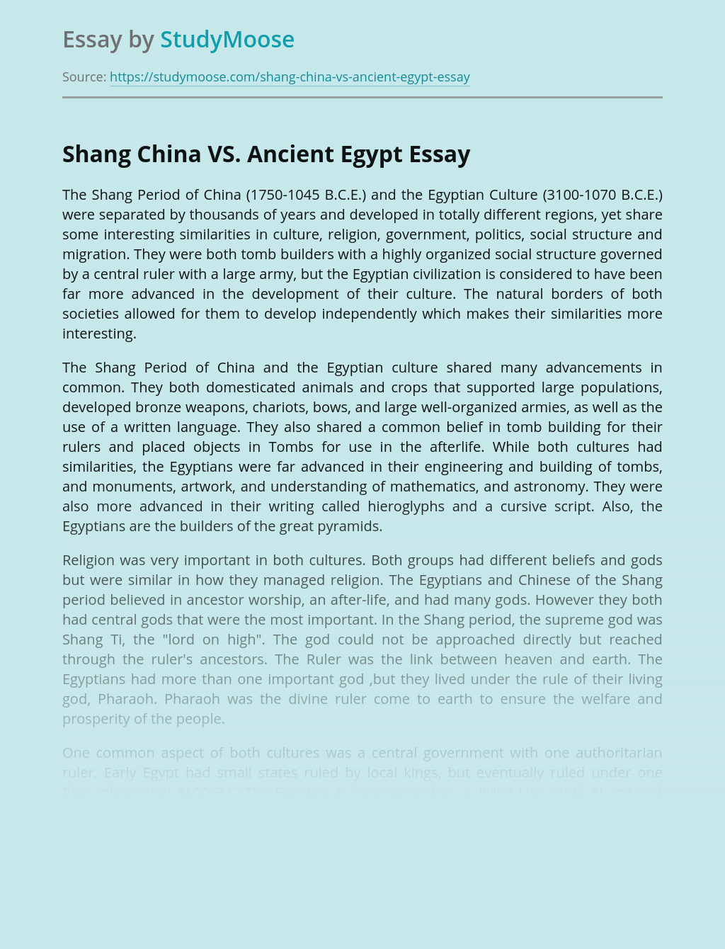 Shang China VS. Ancient Egypt