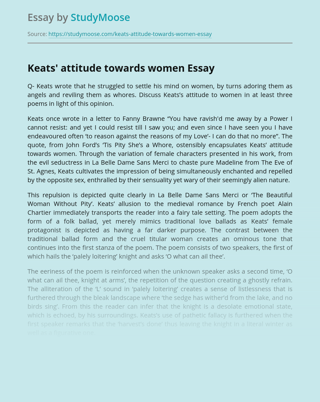 Keats' attitude towards women