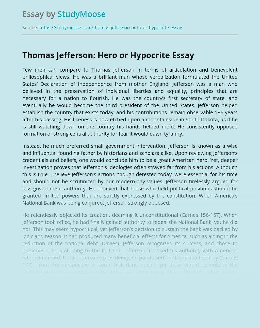 Thomas Jefferson: Hero or Hypocrite