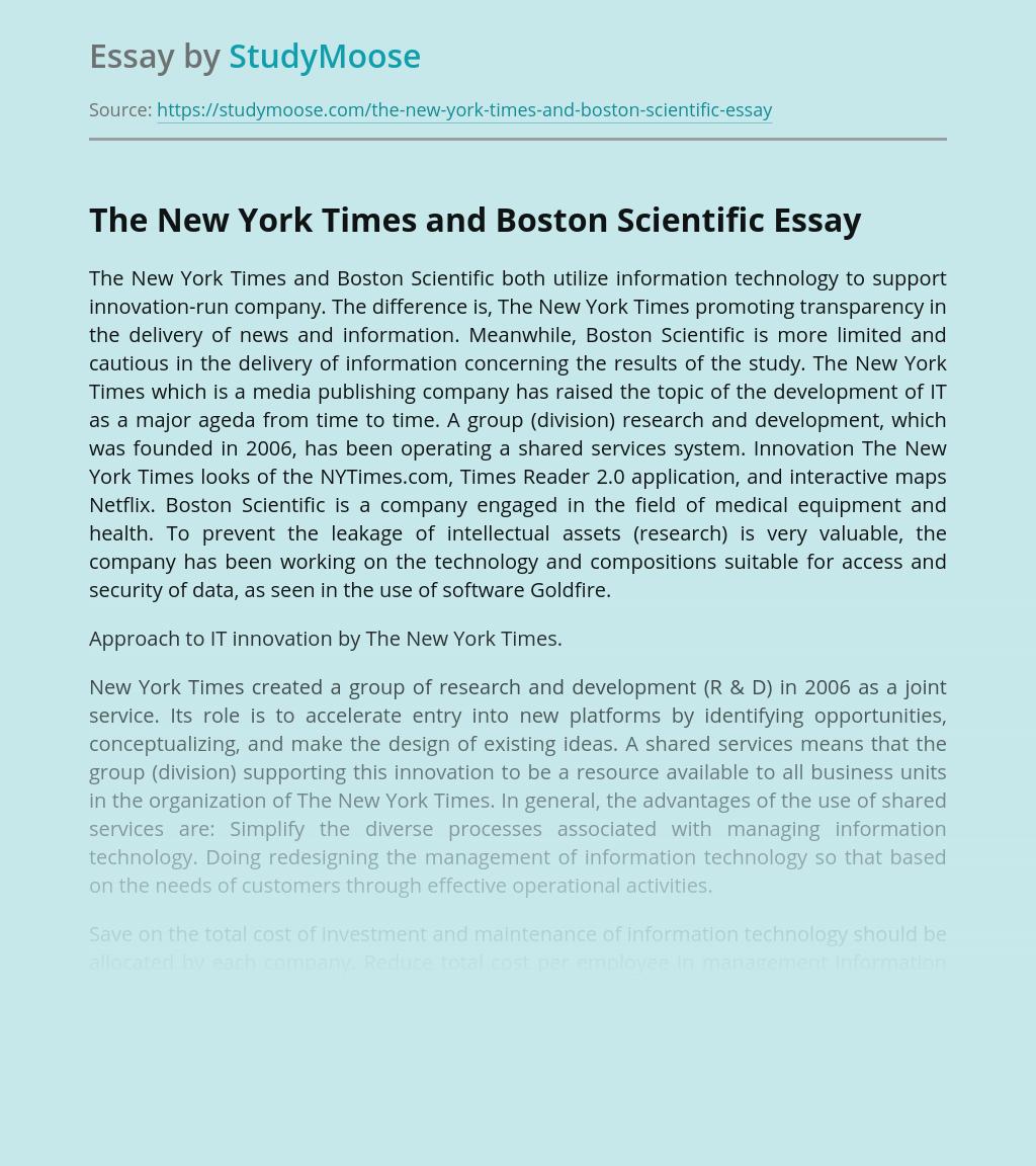 The New York Times and Boston Scientific