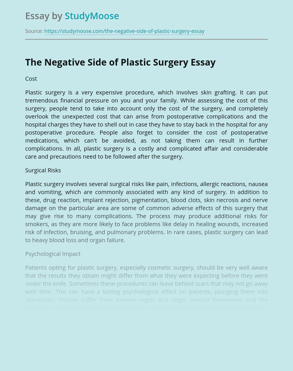 The Negative Side of Plastic Surgery