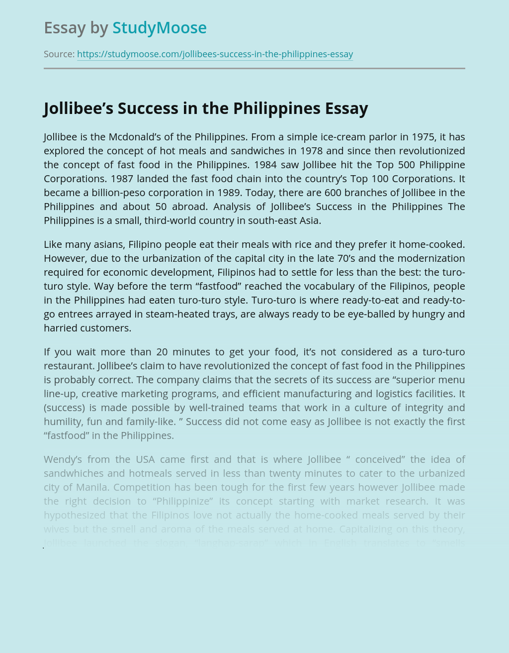 Jollibee's Success in the Philippines