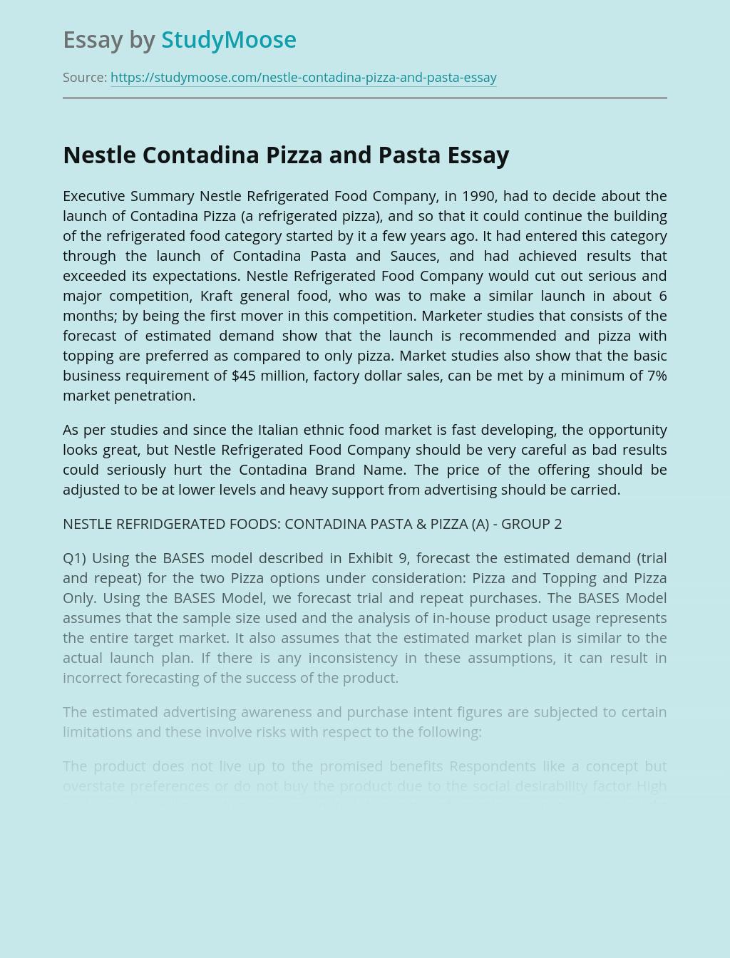 Nestle Contadina Pizza and Pasta