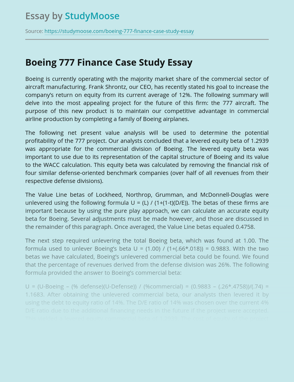 Boeing 777 Finance Case Study