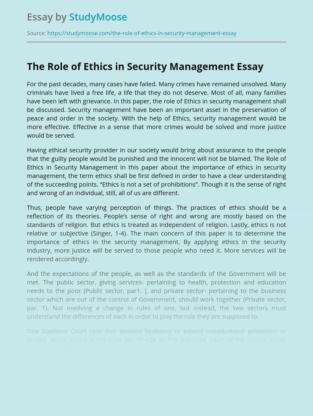 The Role of Ethics in Security Management