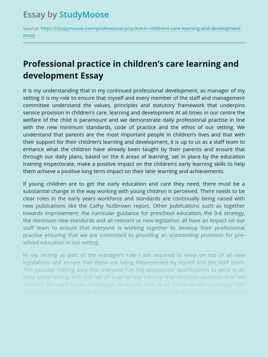 Professional practice in children's care learning and development