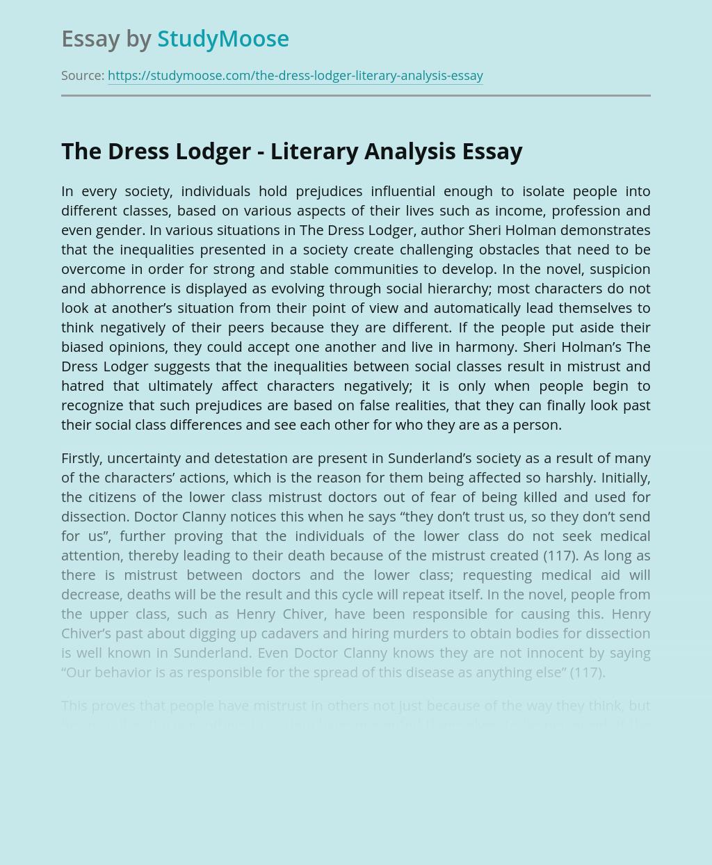 The Dress Lodger by Sheri Holman - Literary Analysis