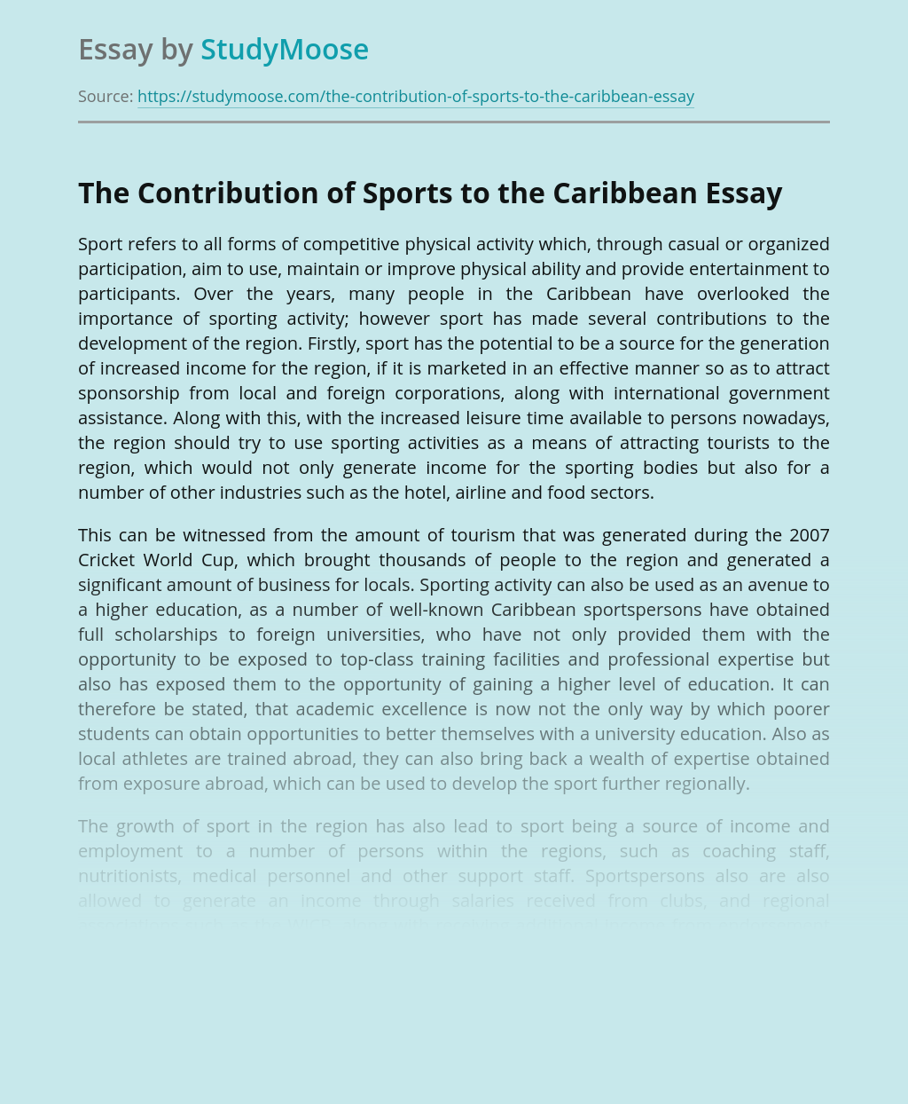 The Contribution of Sports to the Caribbean