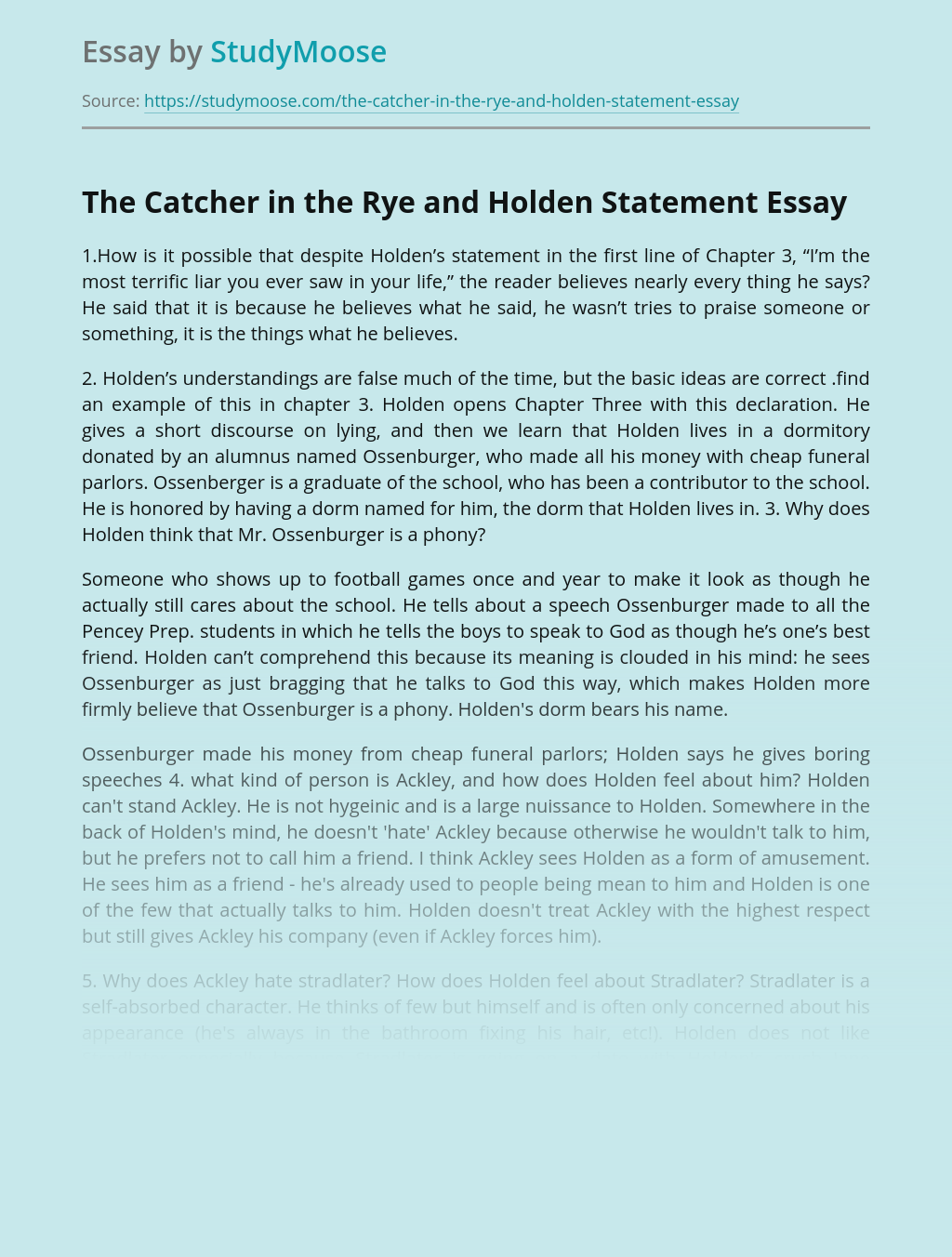 The Catcher in the Rye and Holden Statement