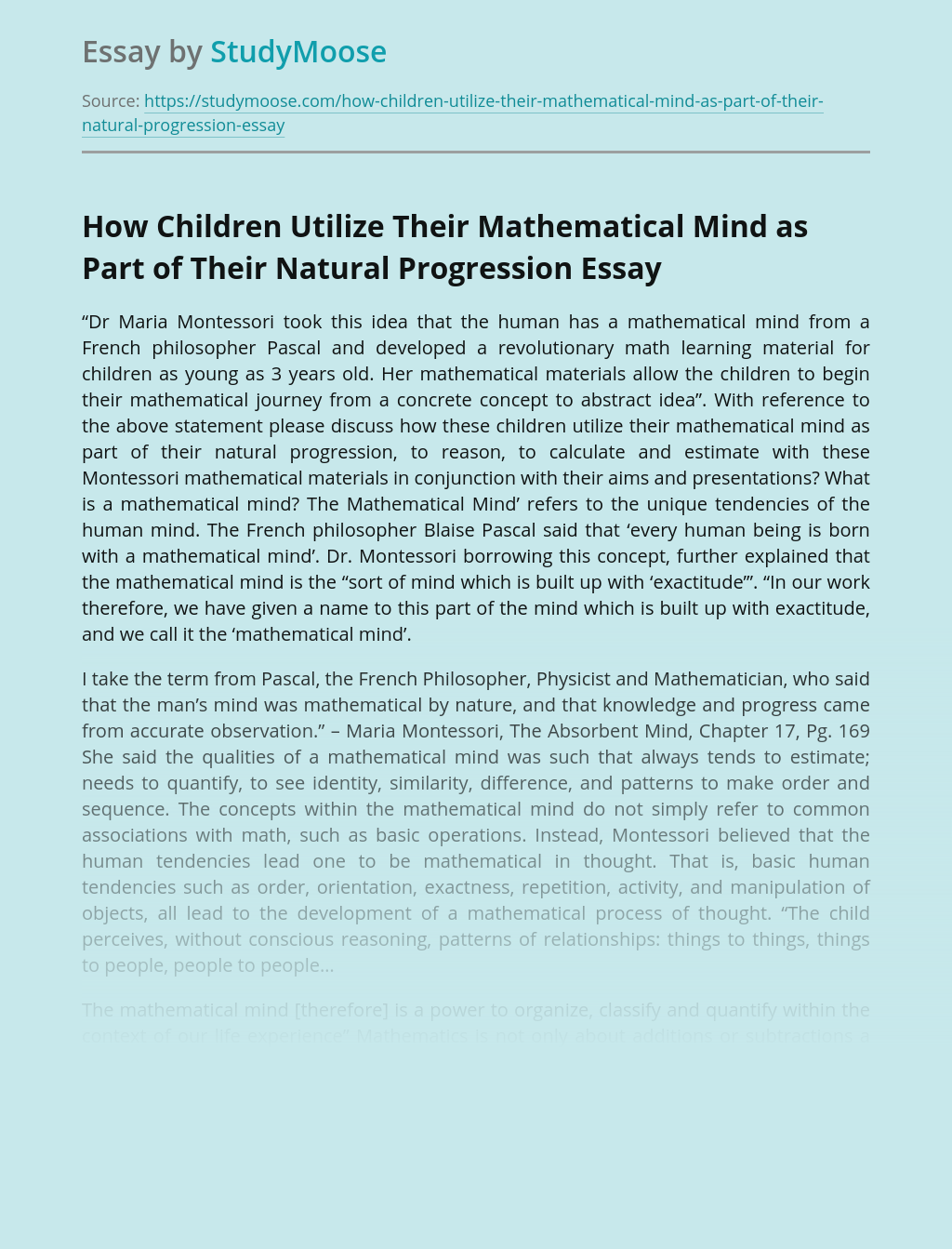 How Children Utilize Their Mathematical Mind as Part of Their Natural Progression