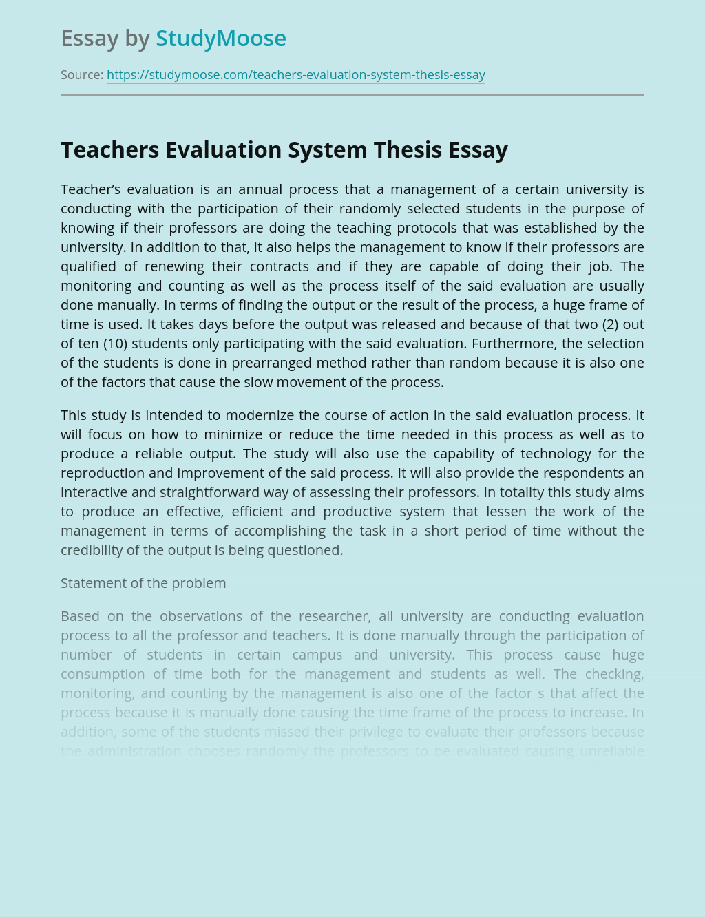 Teachers Evaluation System Thesis