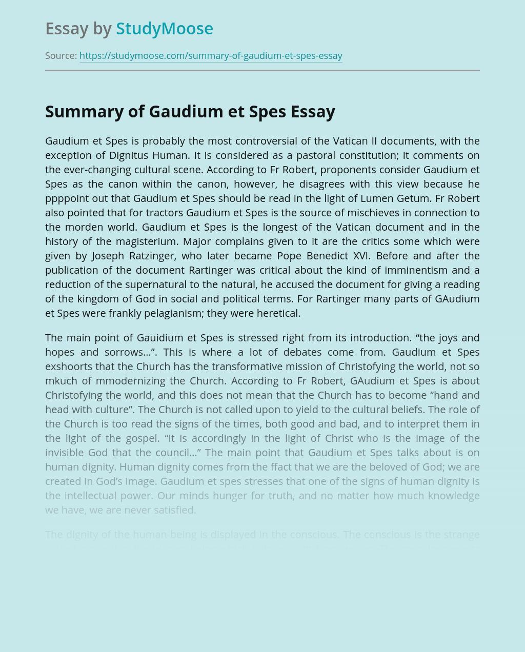 Summary of Church's Gaudium et Spes