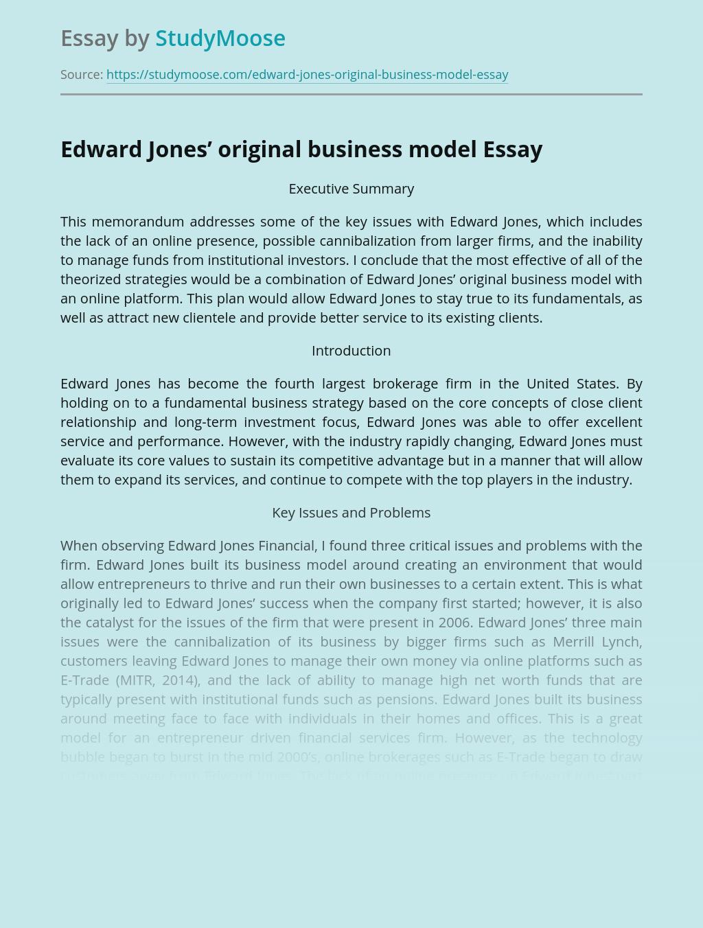 Edward Jones' original business model