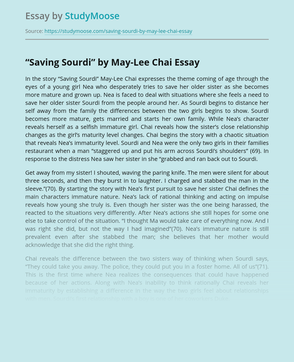 """Saving Sourdi"" by May-Lee Chai Short Story Review"