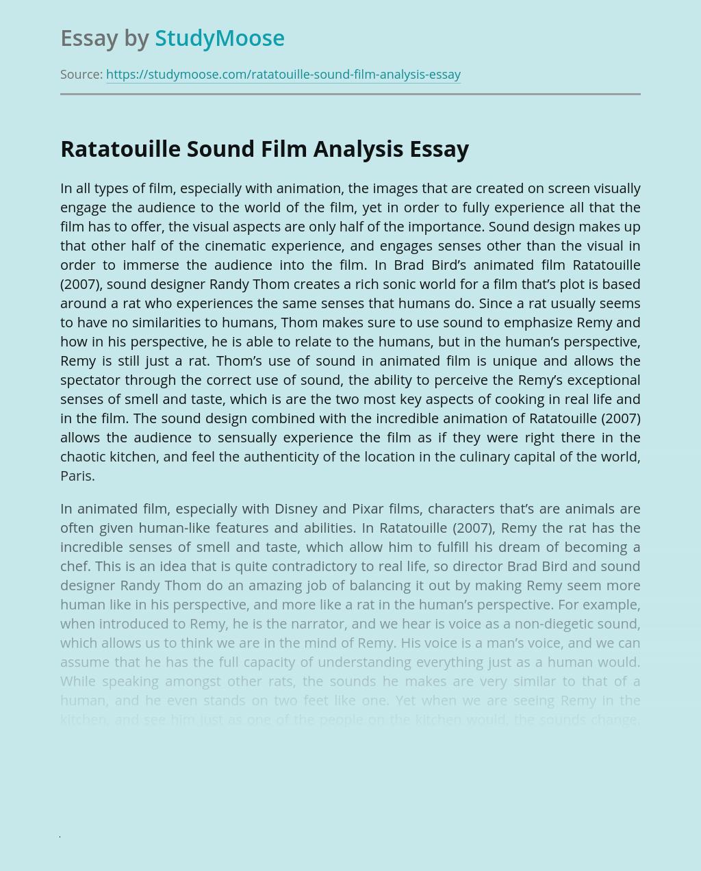 Ratatouille Sound Film Analysis