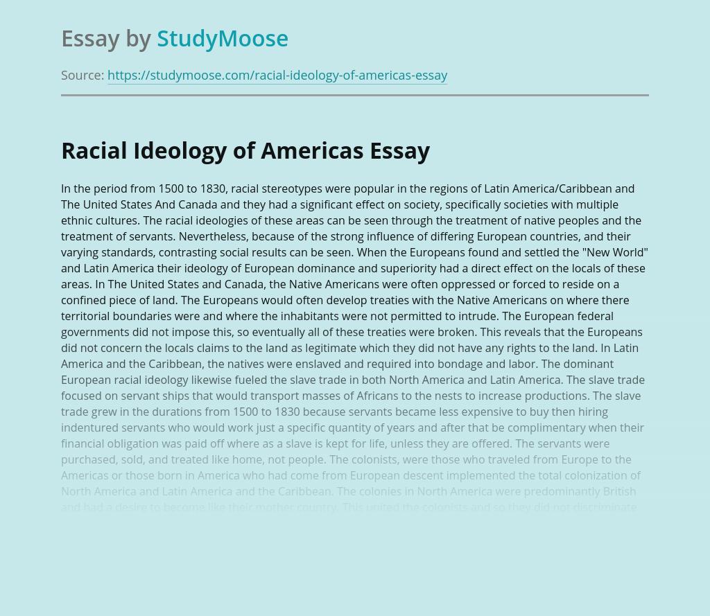 Racial Ideology of Americas