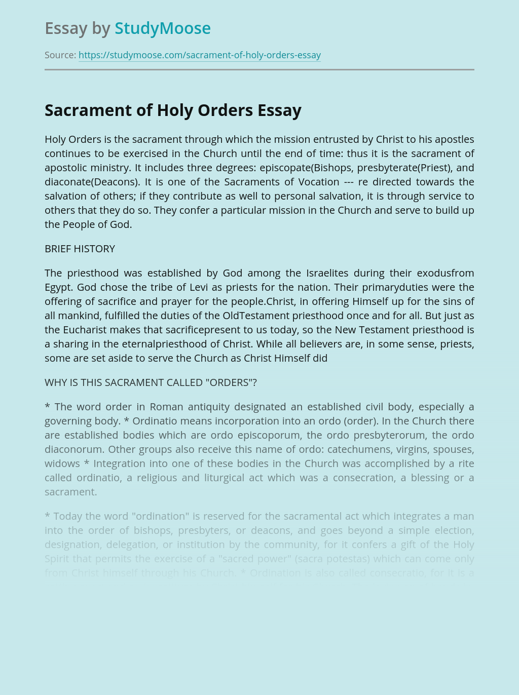 Sacrament of Holy Orders in Christianity