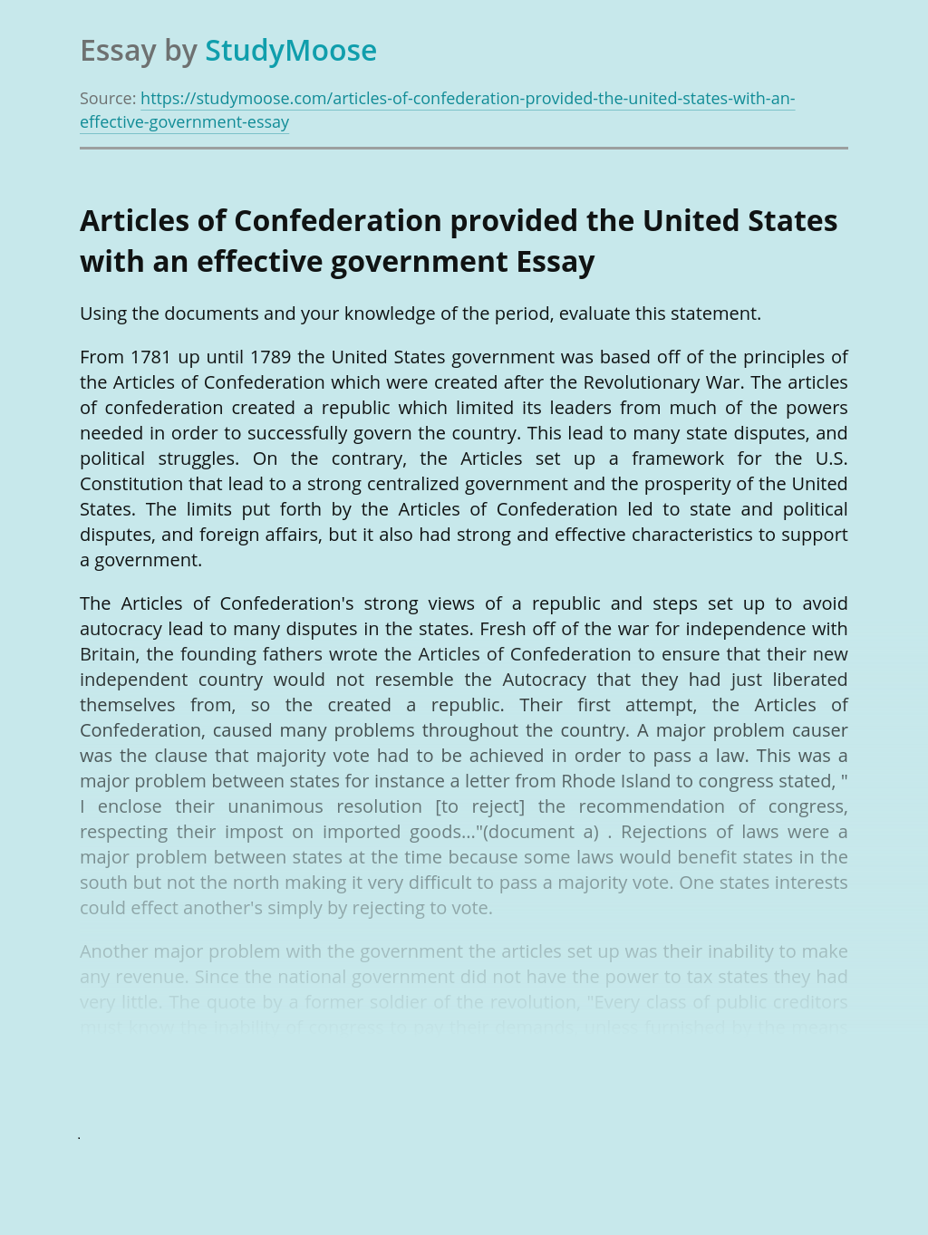 Articles of Confederation provided the United States with an effective government