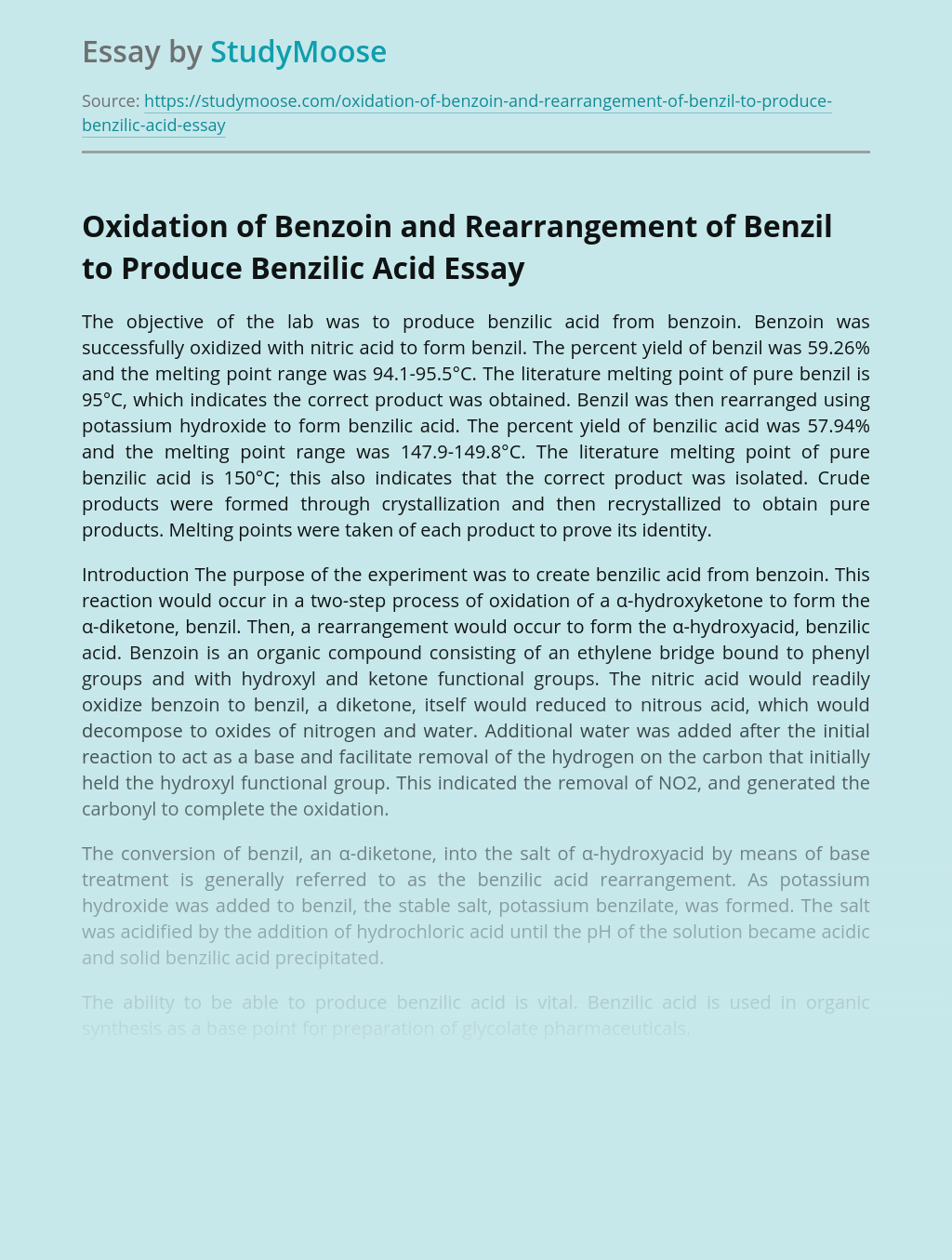 Oxidation of Benzoin and Rearrangement of Benzil to Produce Benzilic Acid