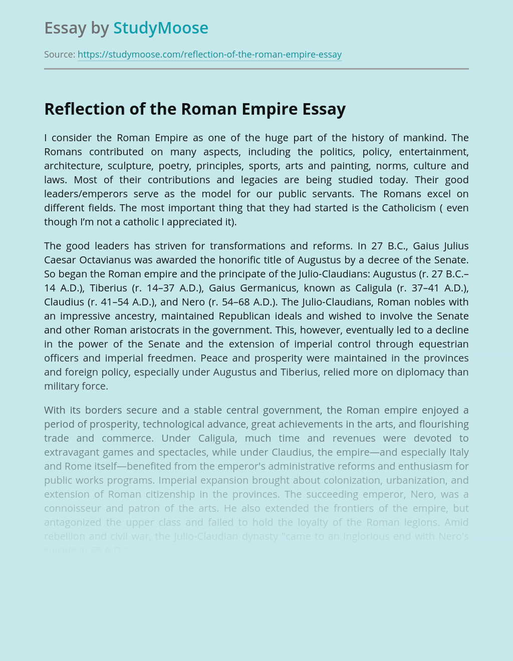 Reflection of the Roman Empire