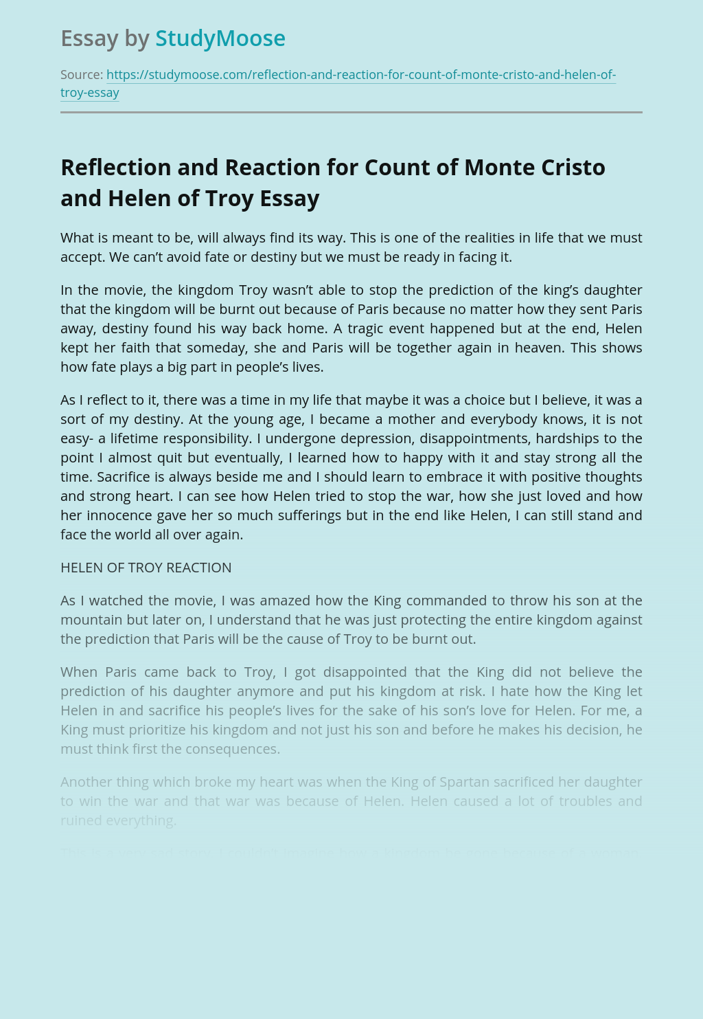 Reflection and Reaction for Count of Monte Cristo and Helen of Troy