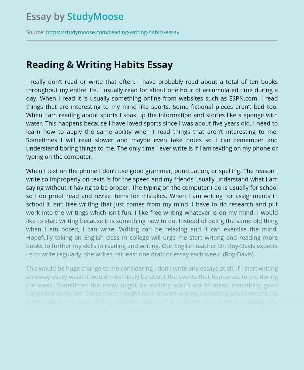Reading & Writing Habits