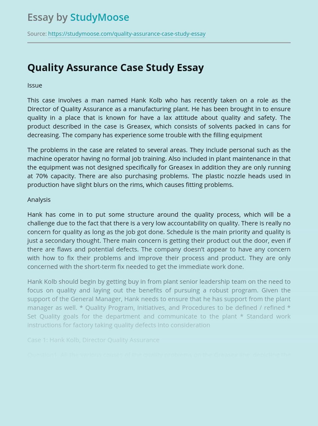 Quality Assurance Case Study