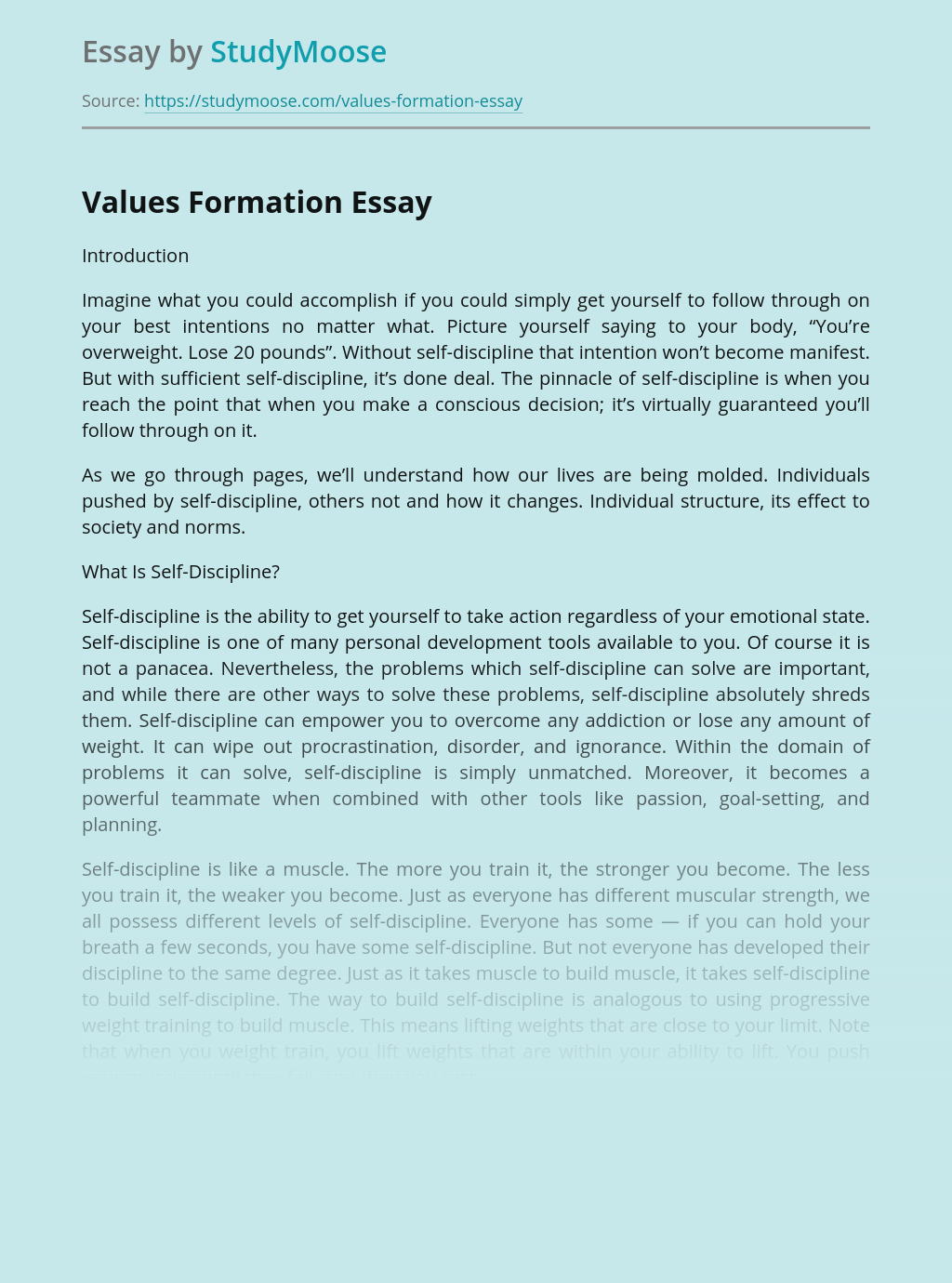 Values Formation