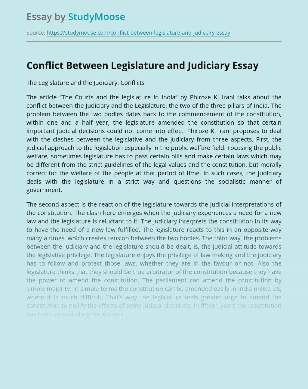 Conflict Between Legislature and Judiciary