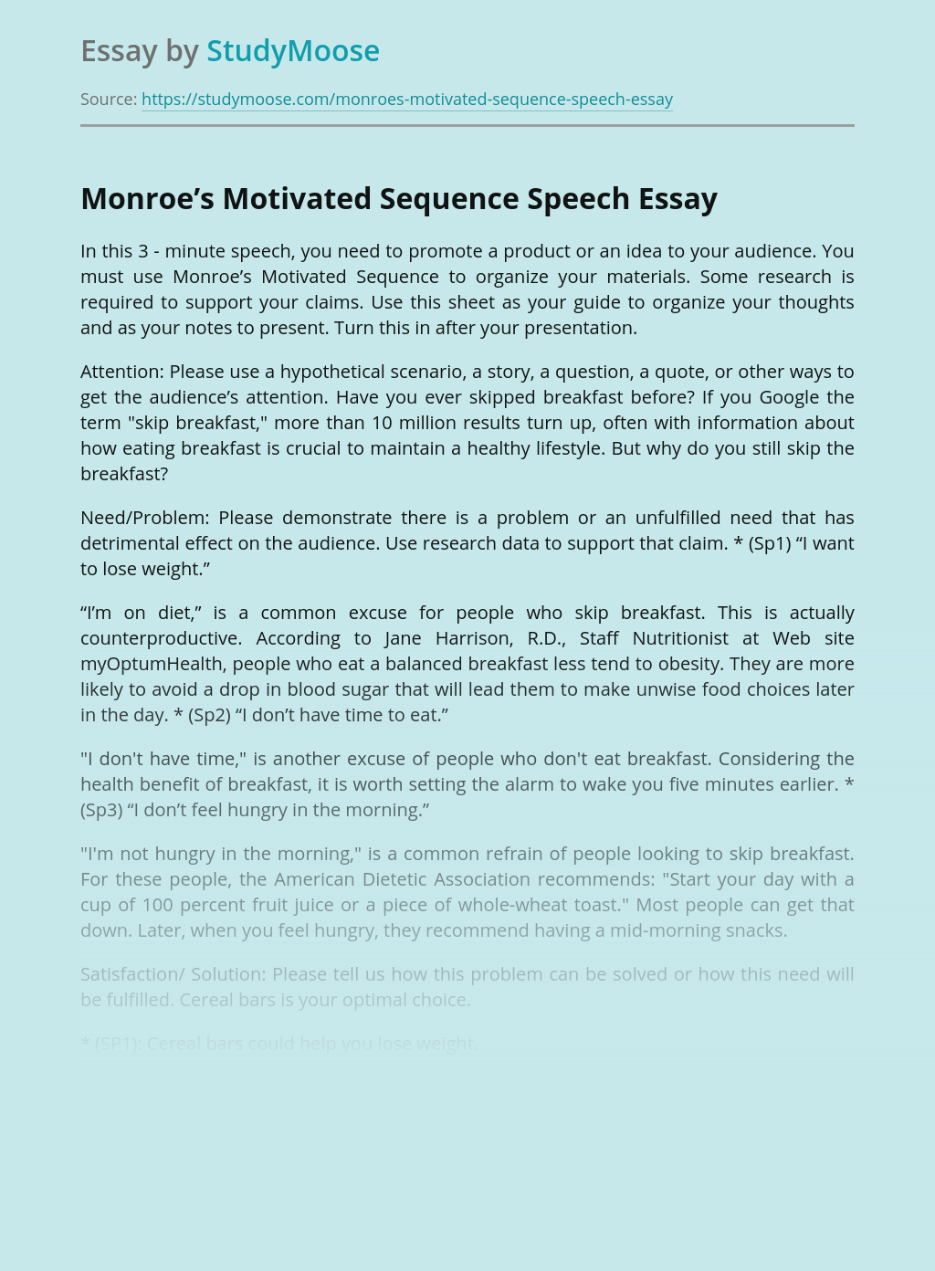 Monroe's Motivated Sequence Speech