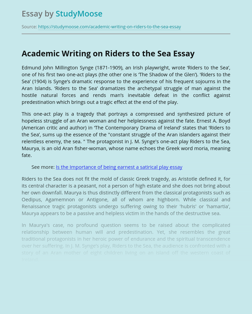 Academic Writing on Riders to the Sea