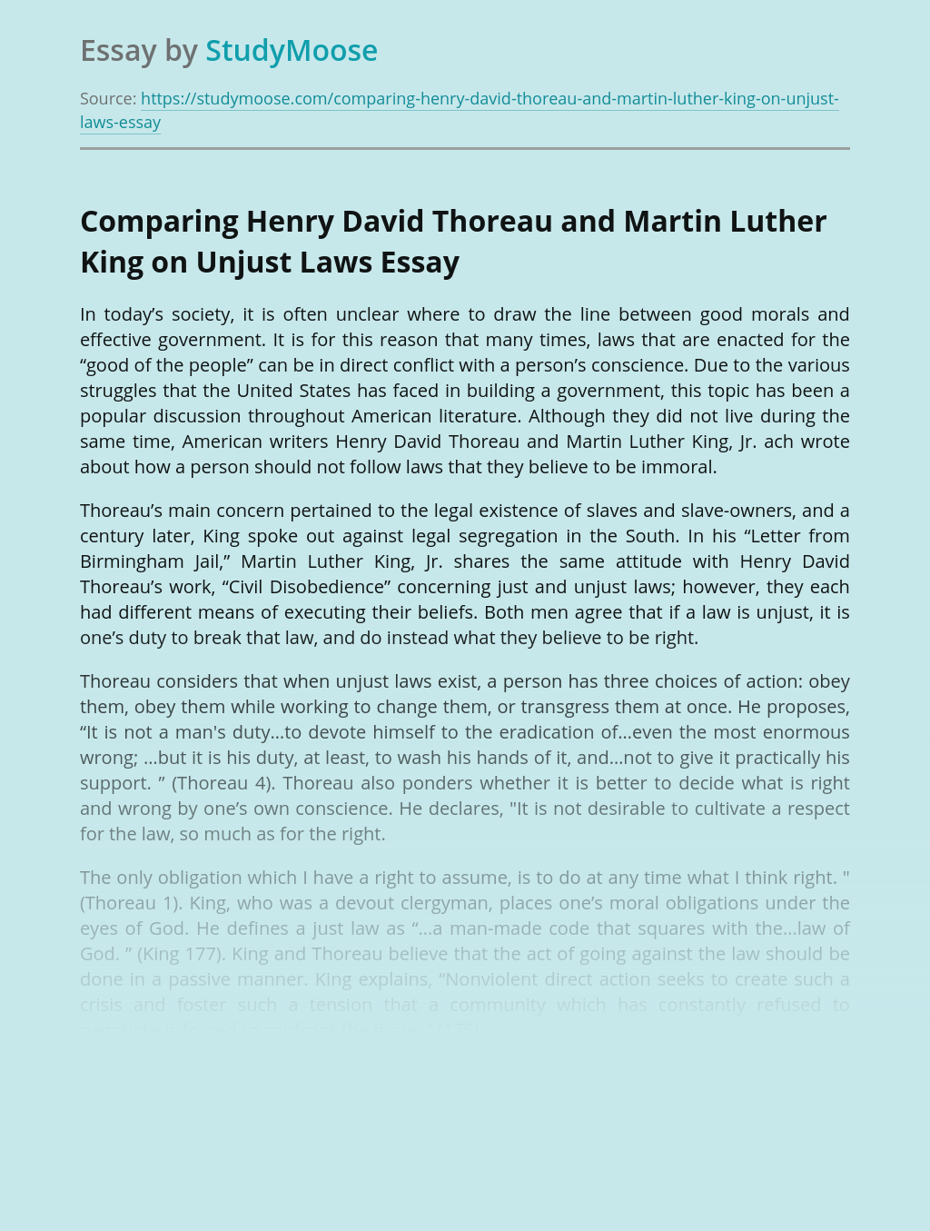 Comparing Henry David Thoreau and Martin Luther King on Unjust Laws